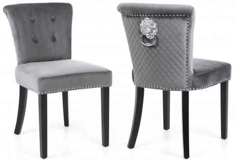 2x Sandringham, Brushed Grey Velvet, Lion Head Knocker Back Dining / Accent Chairs, (Pack of 2)