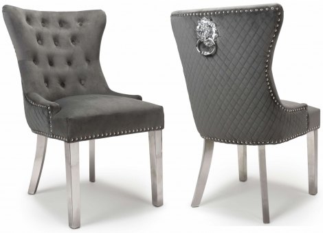 2x Lion Head, Brushed Grey Velvet, Knocker Back Dining / Accent Chairs, Chrome Legs, Pair