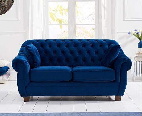 Liv Chesterfield Blue Plush Fabric 2 Seater Sofa