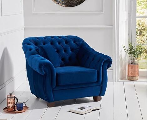 Liv Chesterfield Blue Plush Fabric Arm Chair