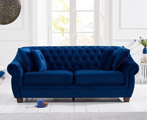 Liv Chesterfield Blue Plush Fabric 3 Seater Sofa