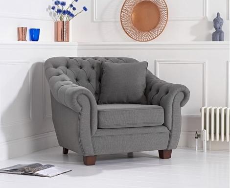 Liv Chesterfield Grey Linen Fabric Armchair