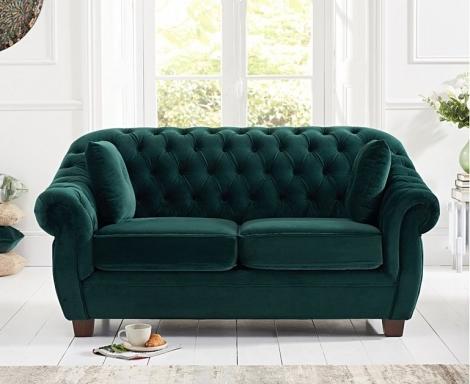 Liv Chesterfield Green Plush Fabric 2 Seater Sofa