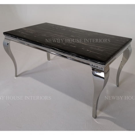 Louis Black Marble and Chrome Louis Style 160cm Rectangular Dining Table