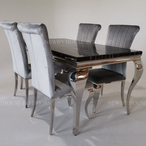 Louis Black Marble and Chrome Louis Style 140cm Rectangular Dining Table & Chairs
