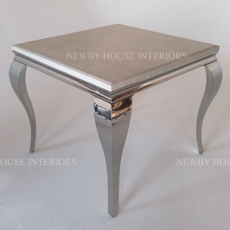 Louis Cream Marble and Chrome Louis Style 90cm Square Dining Table