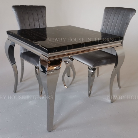 Louis Black Marble and Chrome Louis Style 90cm Square Dining Table & Chairs