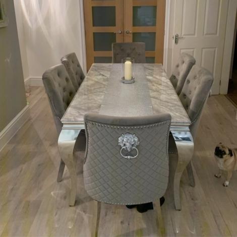 Louis Marble 140cm Rectangular Dining Table & Knocker Back Velvet Chairs
