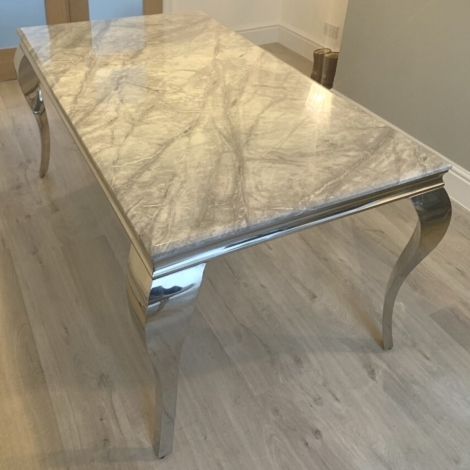 Louis Grey Marble and Chrome 160cm Rectangular Dining Table