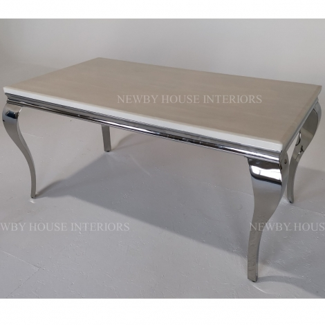 Louis Cream Marble and Chrome Louis Style 160cm Rectangular Dining Table