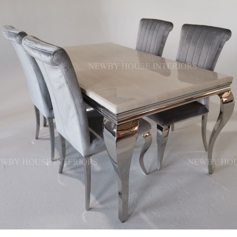 Louis Cream Marble and Chrome Louis Style 160cm Rectangular Dining Table & Chairs