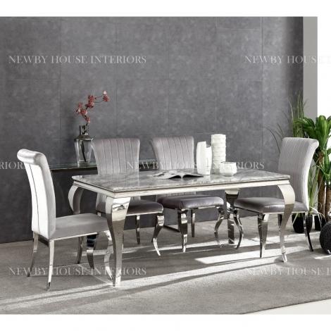 Louis Grey Marble 160cm Rectangular Dining Table & Velvet Chairs