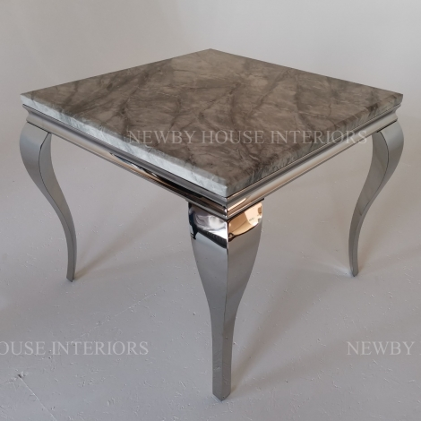Louis Grey Marble and Chrome Louis Style 90cm Square Dining Table
