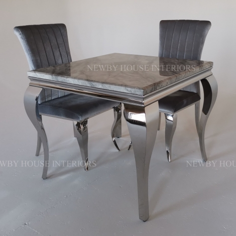 Louis Grey Marble and Chrome Louis Style 90cm Square Dining Table & Chairs