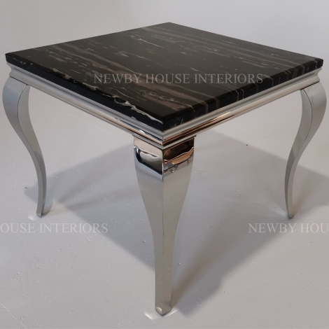 Louis Black Marble and Chrome Louis Style 90cm Square Dining Table