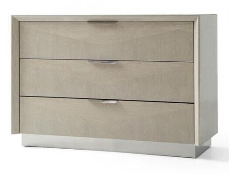 Lucia 3 Drawer Chest / Dresser In Cream Walnut High Gloss