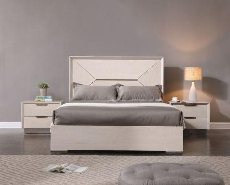 Lucia Bed Frame in cream walnut high gloss