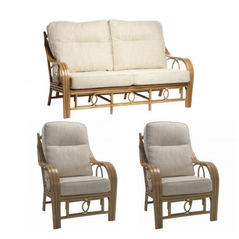 Desser, Madrid, Light Oak, Cane 3 Seater Sofa & 2 Chairs