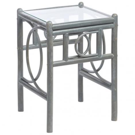 Desser, Madrid, Grey Wash, Cane Lamp Table