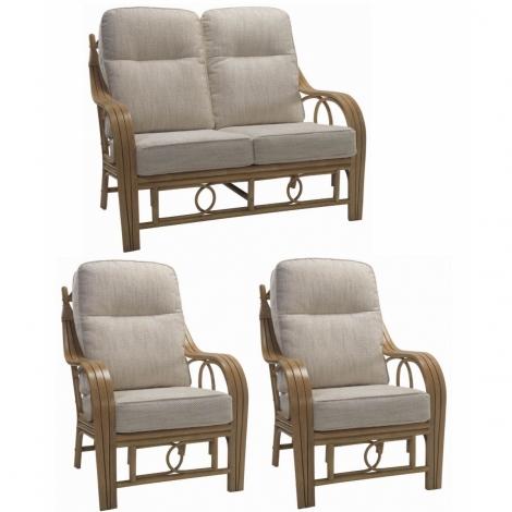 Desser, Madrid, Light Oak, Cane 2 Seater Sofa & 2 Chairs