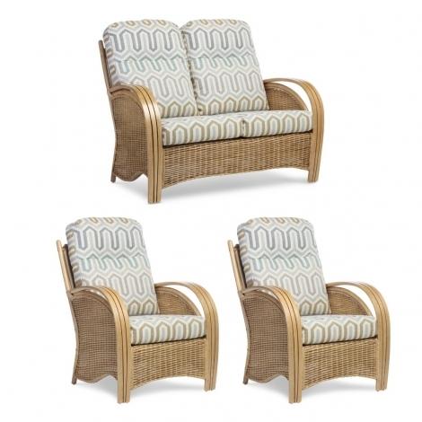 Desser, Manila, Light Oak, Cane 2 Seater Sofa & 2 Chairs