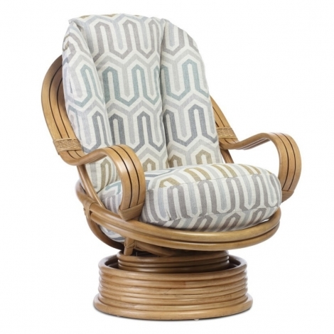Desser, Manila, Laminated Arm, Light Oak, Cane Swivel Rocker Chair