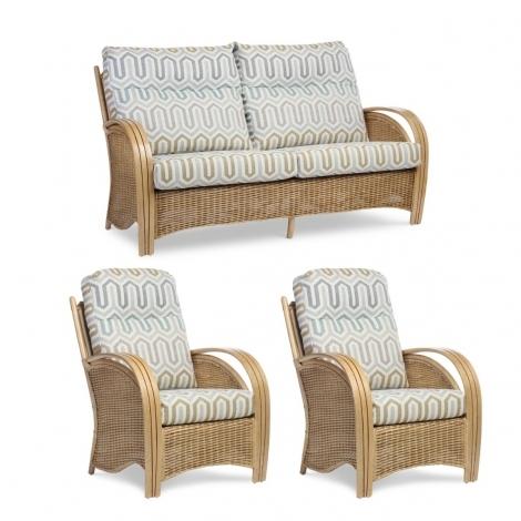 Desser, Manila, Light Oak, Cane 3 Seater Sofa & 2 Chairs