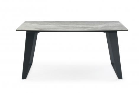 Morada Ceramic 160cm Marble Top Dining Table, Grey Metal Legs