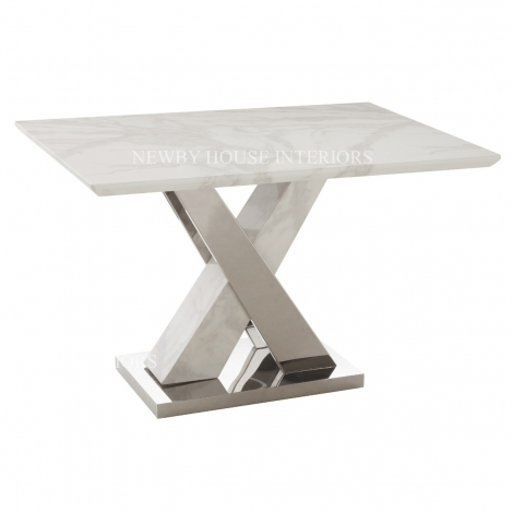 Marco 120cm White Marble & Stainless Steel Dining Table