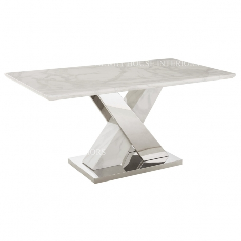 Marco 160cm White Marble & Stainless Steel Dining Table