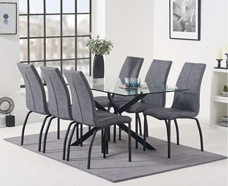 Marina 160cm Rectangular Glass Top Dining Table & Nadia Grey Chairs