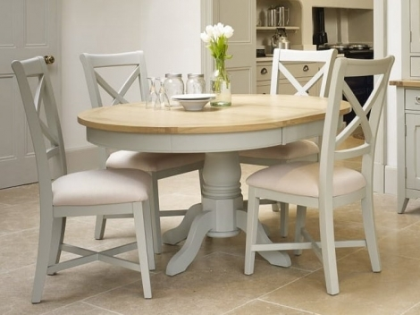 Bordeaux Painted Cool Grey and Oak 113cm - 153cm Round Dining Table & 4 Chairs