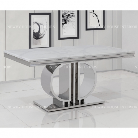 Massimo 160cm White Marble & Stainless Steel Dining Table