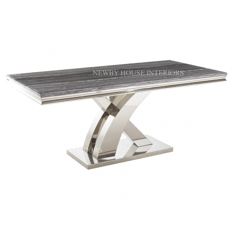 Mayfair 180cm Grey Marble & Stainless Steel Dining Table