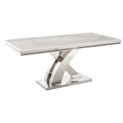 Mayfair 180cm White Marble & Stainless Steel Dining Table