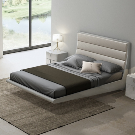 Mila Bed Frame in Cashmere gloss with cashmere faux leather headboard
