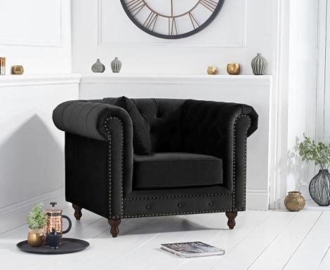 Milan Black Velvet Fabric Chesterfield Armchair