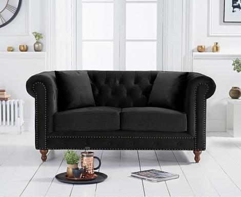 Milan Black Velvet Fabric 2 Seater Chesterfield Sofa
