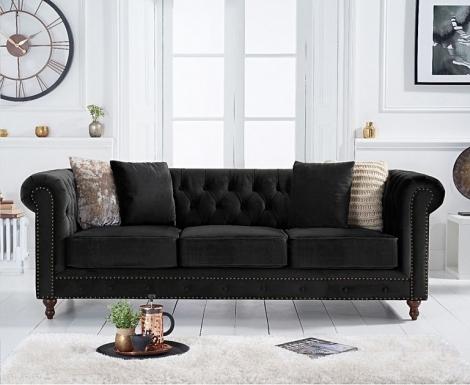 Milan Black Velvet Fabric 3 Seater Chesterfield Sofa