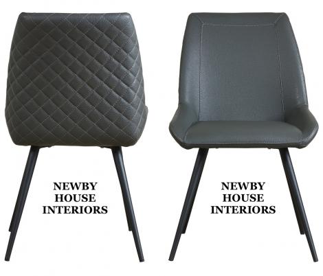 Morada Dark Grey Faux Leather Dining Chair, metal legs x2