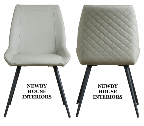 Morada Light Grey Faux Leather Dining Chair, metal legs x2