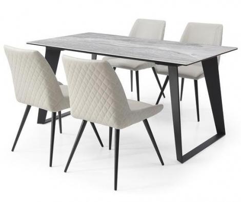 Morada Ceramic 160cm Marble Top Dining Set Light Grey Chairs