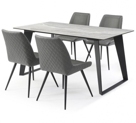Morada Ceramic 160cm Marble Top Dining Set Dark Grey Chairs