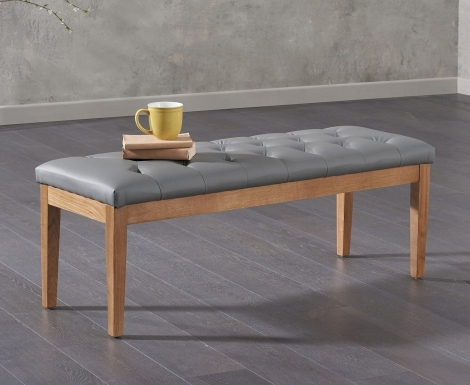 Courtney Large Grey Faux Leather Bench Solid Oak Legs