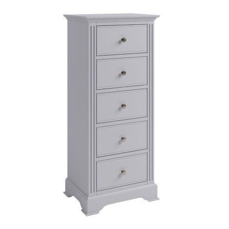 Ashley Soft Grey Painted 5 Drawer Tall Bedroom Chest