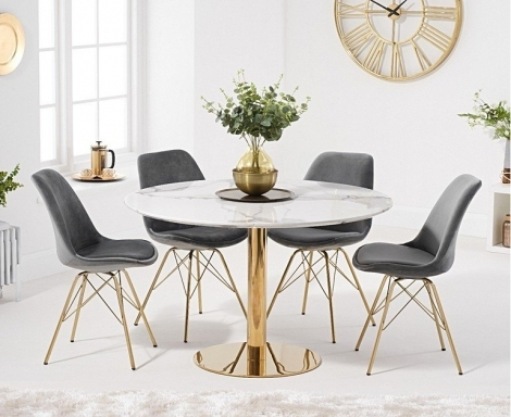 Nevada 120cm Round White Marble Effect Dining Table With Calabasus Chairs
