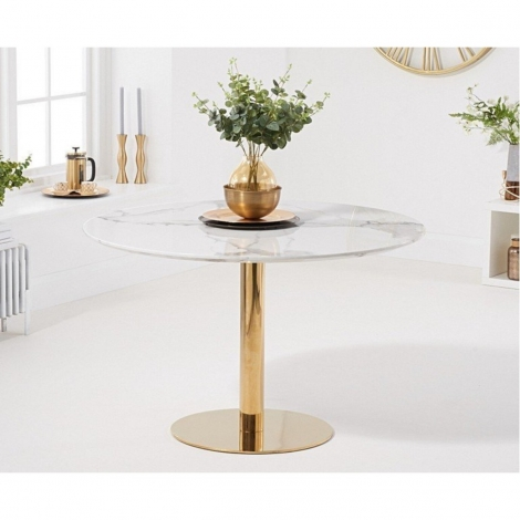 Nevada 120cm Round White Marble Effect Dining Table