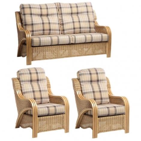 Desser, Opera, Light Oak, Cane 3 Seater Sofa & 2 Chairs