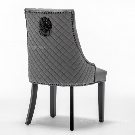Oxford, Grey Faux Leather, Black Metal Lion Knocker Back Dining Chair With Black Wooden Legs