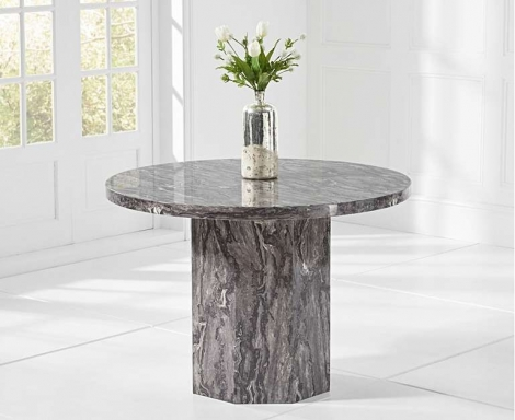 Coruna Round Grey 110cm Marble Dining Table